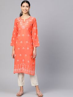 #Ada #handembroidered Rust #Cotton #Lucknowi #Chikankari Kurti-A100361 offers a comfortable and relaxed silhouette to the wearer, the fabric and embroidery is skin friendly  #Adachikan #handcrafted #chikan #lakhnavi