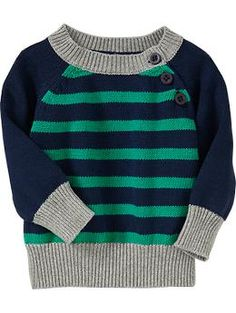 Striped Raglan from Old Navy Baby Boy Sweater, Knit Baby Sweaters, Boys Sweaters, Baby Boy Knitting, Baby Knitting Patterns, Knitting For Kids, Kids Fashion Boy, Pulls, Toddler Boys