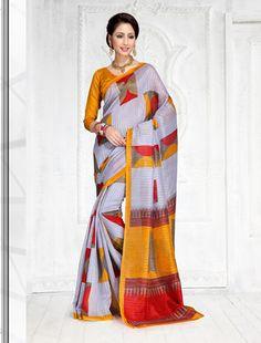 Multy Green Silk Printed Beautiful Saree By Thankar Silk Sarees