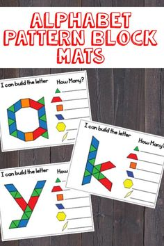 Alphabet Pattern Block Mats (lowercase letters) - Everything About Kindergarten Abc Centers, Kindergarten Centers, Preschool Literacy, Kindergarten Reading, Kindergarten Classroom, Kindergarten Activities, Leadership Activities, Patterning Kindergarten, Kindergarten Morning Work