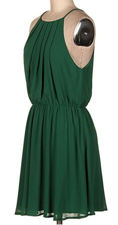 Pleated Green Halter Dress