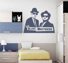 Vinilo decorativo de la silueta de la lejendaria banda musical The Blue Brothers.