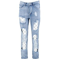 Boohoo Zena Flora Light Wash Fishnet Boyfriend Jeans ($56) ❤ liked on Polyvore featuring jeans, pants, high waisted skinny jeans, slim boyfriend jeans, boyfriend jeans, ripped boyfriend jeans and distressed skinny jeans