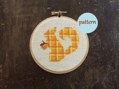 Plaid Squirrel Cross Stitch Pattern Instant by WinsomeStitches