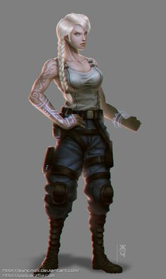 Industrial looking character. Glowing tattoos can be used on a magical character (Shaman) ArtStation - Character Design works, Zhenya Chung Female Character Concept, Game Character, Character Ideas, Gangsters, Cyberpunk Girl, Sci Fi Characters, Fictional Characters, Post Apocalypse, Character Portraits