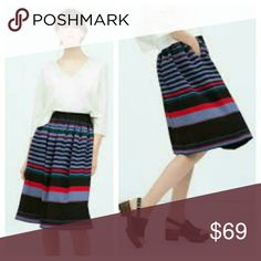 """Zara Striped Full Skirt 💕FALL MUST HAVE HP💕 Show your playful side with fun stripes!! ●Horizontal striped skirt, banded waistband, side pockets. Side zip. Lightly pleated under waist. Full skirt.  ●Colors: Navy, red, blue, green, black.  ●Laid Flat: Roughly 27.5"""" length; 15"""" waist.  ●100% poly.  ●EUC! ●Zara Woman brand. ●BUNDLE FOR SAVINGS! Zara Skirts A-Line or Full"""