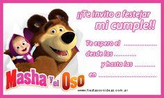 Masha y el Oso - tarjeta de cumpleaños para imprimir gratis