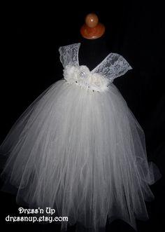 Ivory Lace Flower Girl Tutu Dress, Wedding, Vintage Inspired Flower Girl Dress, Girl's 6-9 on Etsy, $89.00
