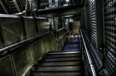 A steep metal staircase inside the modern Westminster underground station in London. Indoor Photography, Westminster, Beautiful Interiors, Stairs, London, Metal, Modern, Club, Google Search