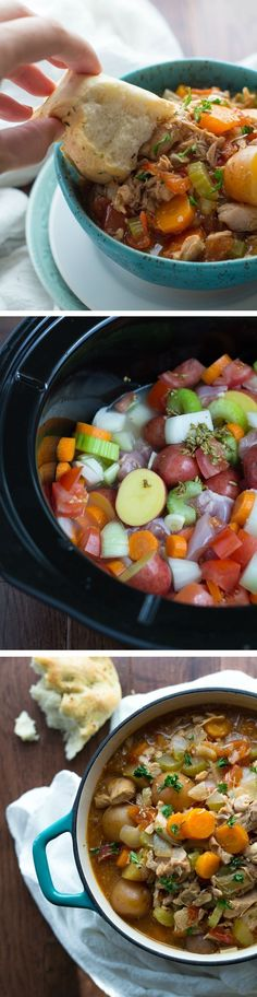 Pinner says: Slow Cooker Tuscan Chicken Stew. Tested this for my Shrinking On a Budget Meal Plan last week - just now getting around to Pinning it. I made a few changes, but mostly stuck with the recipe. Perfect for fall! Crock Pot Slow Cooker, Slow Cooker Recipes, Cooking Recipes, Healthy Recipes, Crockpot Meals, Healthy Soup, Healthy Crockpot Chicken Recipes, Slow Cooker Chicken Stew, Fall Crockpot Recipes