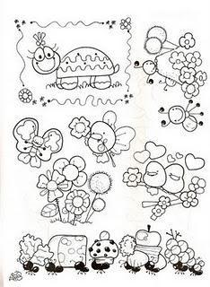 FICHAS PARA TRABAJAR LA PRIMAVERA Digi Stamps, Coloring Book Pages, Alice In Wonderland, Embroidery Patterns, Diy And Crafts, Doodles, Sketches, Clip Art, Quilts