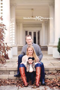 9 month milestone portraits, family portrait // Outdoors, fur vest // Hurley Gardens - Wheaton, IL // by Mandy Ringe Photography