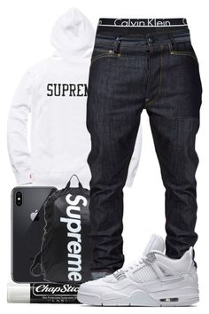 A menswear look from March 2018 featuring calvin klein men's underwear, blue jeans and sweatshirt hoodies. Browse and shop related looks. Jordans Outfit For Men, Dope Outfits For Guys, Swag Outfits Men, Nike Outfits, Tomboy Outfits, Teen Boy Fashion, Tomboy Fashion, Sneakers Fashion, Mens Fashion