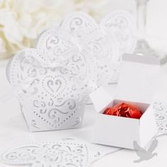 Heart Shaped Decorative Favor Boxes & Wraps.  Another great example of fun with laser die-cutting.