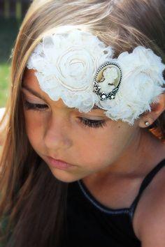 Victorian Headband, Cameo Headband, Ivory Lace Headband,Vintage Headband, Organza Headband, Girls Headband, Infant Headband, Antique