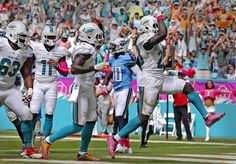 Titans vs. Dolphins:  30-17, Titans  -  October 9, 2017  -     Miami Dolphins Jay Ajayi leaps after scoring a second quarter touchdown as they play the Tennessee Titians at the Hard Rock Stadium in Miami Gardens, Florida, October 9, 2016.