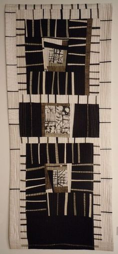 Melinda Snyder, Mark Making II, 2010 -cotton, linen and silk fabrics Patchwork Quilting, Art Textile, Textile Artists, Small Quilts, Mini Quilts, Strip Quilts, Quilting Projects, Quilting Designs, Skinny Quilts