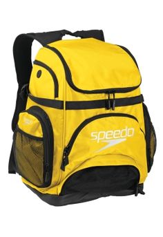 My whole life is in this bag, separate pockets for everything, mesh pouch is great and doesn't leak.  Speedo Pro Backpack - Swim Backpacks | Speedo USA