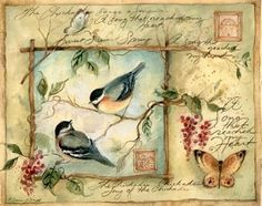 I have boxes from JoAnn's with this artwork on it.  How fun to find it on Pinterest. Google says its by Susan Winget. Birds, postmarks, butterflies