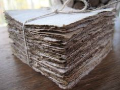 """4"""" x 4"""" Distressed look Blank Card/ Vintage look stationery/ Coffee stained stationery/ handmade from recycled paper - 50 sheets"""
