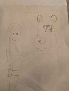 Nadat ik de afbeelding van de kat gevonden had (van de pin hiervoor) kreeg ik ineens een nieuw idee voor mijn tekening en heb ik daar een ontwerp voor gemaakt. Het meisje kijkt naar het hele schattige kleine katje op haar handen maar ziet niet wat voor kat het eigenlijk is. Hij is eigenlijk gewoon een groot duiveltje.