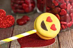 Heart Eye Emoji Oreo Pops | From OhNuts.com