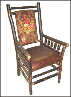 Upholstered Hickory Arm Chair
