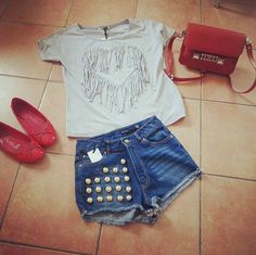 High waisted shorts and fringed heart shirt, which I heart!