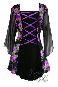 Dare To Wear Victorian Gothic Women's Plus Size Mandarin Corset Top Purple Rose