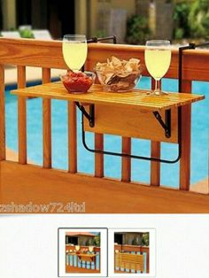SPACE SAVER: DECK,PORCH,BALCONY folding table natural wood at eBay.($30.00)