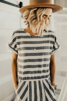 Grey and Ivory Striped Jumpsuit | ROOLEE