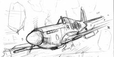 spitfire rough by bordon on DeviantArt Airplane Sketch, Airplane Drawing, Airplane Art, Aviation Decor, Airplane Photography, Drawing Projects, Aircraft Design, Art Drawings Sketches, Sketch Design