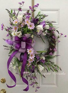 DIY Flower Projects – There is nothing quite like fresh flower arrangements for the house decoration. It does not only improve the house by its aesthetical aspect. Read MoreBest DIY Flower Projects with Simple Tools and Materials Purple Wreath, Tulip Wreath, Floral Wreaths, Lavender Wreath, Wreath Crafts, Diy Wreath, Wreath Ideas, Easter Wreaths, Holiday Wreaths