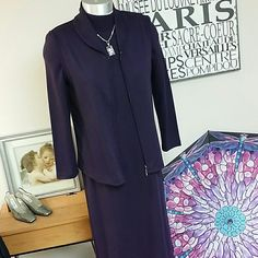 Knit dress with vest Gorgeous plum dress in medium weight acrylic knit. Has coordinating zippered vest. Very classy and sophisticated business or casual dress. Wear with eye popping scarf and boots, or layers of jewlery and heels. Petite sized, but dress is 48 in long from collar to hem, and sleeve length is 23. Excellent, flawless condition. A beautiful dress to wear for the holidays. Sag Harbor Dresses Long Sleeve