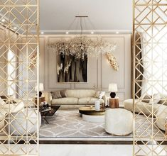 Gorgeous All white and gold luxury living room decor with white modern sofa Living Room Decor Tips, Living Room Interior, Living Room Designs, Interior Livingroom, Home Living, Luxury Living, My Living Room, Elegant Living Room, Living Room Modern