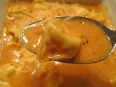 Creamy tomato tortellini soup. I'm making this when Fall hits.