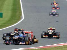 Jean-Eric Vergne's tyre explodes on the Hangar Straight - 2013 British GP