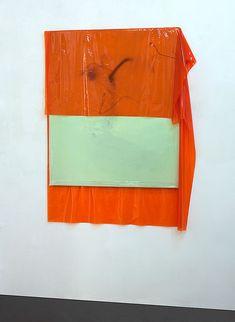 Michaela Zimmer  150104 Year: 2015 Medium: Acrylic, lacquer, spray paint, and PE film on canvas Size: 150 x 115 cm, Installation view at Stuttgarter Platz 2