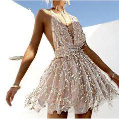 Women's Playful V-Neck Halter Sequined Dress w/ Tassel Design