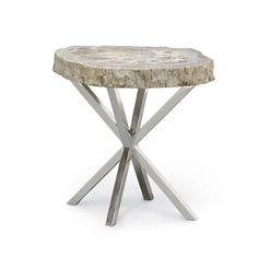 PETRIFIED WOOD ASTERISK SIDE TABLE by PALECEK
