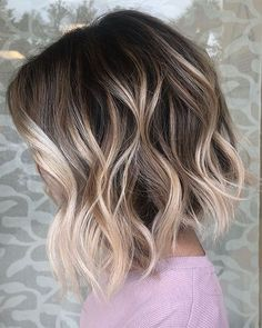 Inverted bob with neutral blonde balayage – short wavy hairstyles Haircuts For Wavy Hair, Undercut Hairstyles, Short Curly Hair, Short Hair Cuts, Curly Hair Styles, Bob Haircuts, Short Wavy Hairstyles, Bobs For Wavy Hair, Little Girl Short Haircuts