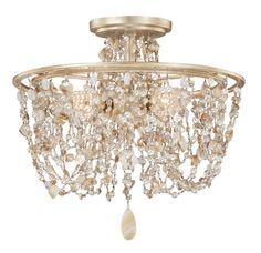 "T175-C0001 By Vaxcel Anastasia 14-1/2"" Semi-Flush Ceiling Light Silver Leaf"