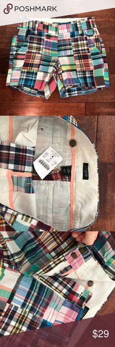 "NWT Jcrew 5"" summer madras Plaid shorts. PRODUCT DETAILS Cotton. Sits at waist. 5"" inseam. Zip fly. Slant pockets, back welt pockets. Machine wash. Import. Item 77962. J. Crew Shorts"