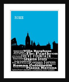 Rome Skyline 2 Typography Print Poster Map by JustPrints on Etsy, $12.95