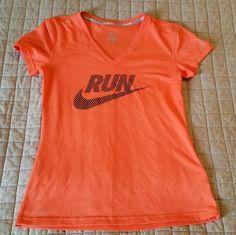 NIKE Dri Fit Running T Shirt Womens S Nike Run Orange Black Cool Polyester EUC  #Nike #Blouse
