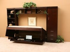 Bed Desk, Black Hidden Murphy Bed Desk Combo For Bedroom: Amazing Murphy Bed Desk Combination for Bedroom