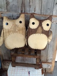 Primitive folk art Owl Pair Large Sitter Pillow Doll Farmhouse Country