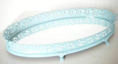 Mirror Vanity Tray Ocean Blue Tray Home Decor Bathroom Shabby Chic Bedroom  Living Room Upcycled Eco-Friendly Vintage