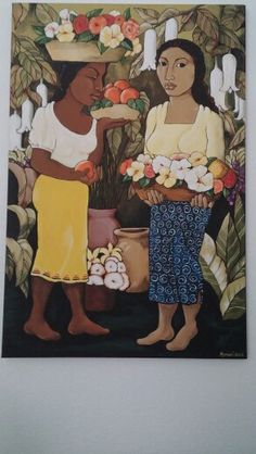 "Mujeres en el mercado. Acrylic on 24 X 36"" canvas."