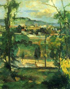 Village behind Trees, 1879, Paul Cezanne    Medium: oil on canvas